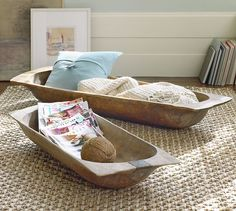 Pottery barn oblong wooden bowls. Love these.
