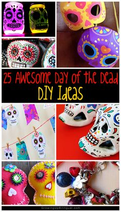 25 awesome Day of the Dead DIY ideas and crafts. Some of these are really easy to do and would make great decorations or crafts for a Dia de los Muertos party or celebration! I'll be making some of these for sure!