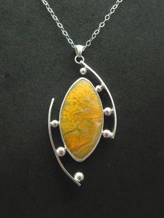 """""""Aspire"""" - Sterling & Fine Silver, Bumble Bee Jasper, spheres of Fine Silver. #SilverJewelry"""