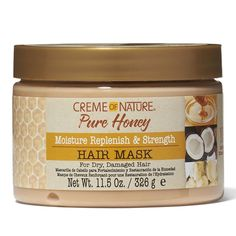 Creme of Nature Pure Honey Moisture Replenish & Strengthening Mask is infused with a blend of Pure Honey, Certified Natural Coconut Oil & Shea Butter. Natural Coconut Oil, Pure Honey, Body Waxing, New Hair Growth, Frizz Control, Hair Loss Women, Sally Beauty, Moisturize Hair, Hair Regrowth