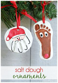The 11 Best DIY Salt Dough Ornaments | Page 2 of 3 | The Eleven Best Christmas Activities, Easy Kids Christmas Crafts, Christmas 2015, Holiday Crafts, Christmas Projects, Santa Crafts, Christmas Gifts, Ornaments For Grandparents, Diy Ornaments For Kids