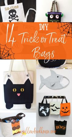 14 Awesome tutorials for DIY trick or treat bags! Make your kiddos one of these adorable tote bags for Halloween. DIY black cat bags, pumpkins bags and monster bags! Free sewing tutorials for Halloween. Diy Halloween Trick Or Treat Bags, Halloween Diy, Halloween Treats, Sewing Projects For Kids, Diy Projects, Cat Bag, Bag Patterns To Sew, Felt Diy, Kids Bags