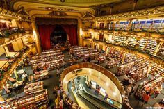 The Argentine Bookstore: El Ateneo.    Ciudad de Buenos Aires, Argentina [2012]    Chosen by The Guardian newspaper as the second most beautiful in the world.