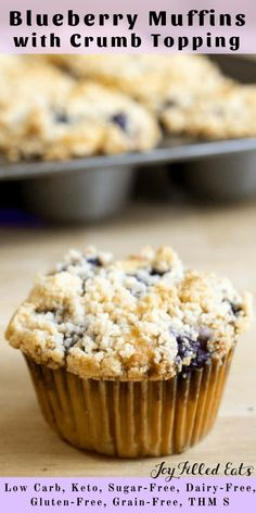 Blueberry Muffins with Crumb Topping - Low Carb, Keto, Sugar-Free, Dairy-Free, Gluten-Free, Grain-Free, THM S - These blueberry muffins with crumb topping are the perfect grab-and-go snack or make-ahead breakfast. If you are looking for a healthy and wholesome delicious blueberry muffin recipe you have come to the right place!
