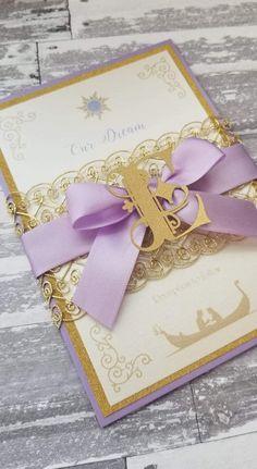 Rapunzel Invitations, Disney Wedding Invitations, Quince Invitations, Quinceanera Invitations, Wedding Invitation Sets, Tangled Wedding, Tangled Birthday, Disney Inspired Wedding, Tangled Party