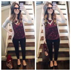 polka dot top with a cardigan and black skinnies and kitten heels. polished off with a statement necklace