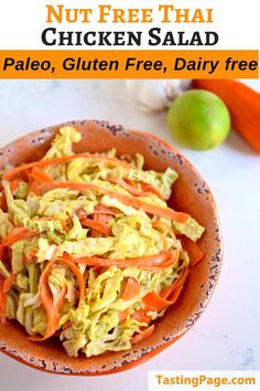 This Thai Chicken Salad is great for allergy sufferers as it's nut-free, gluten free and dairy free. Enjoy this crisp, crunchy salad that you can prep in advance for lunch or dinner! Gluten Free Recipes For Lunch, Lunch Recipes, Easy Dinner Recipes, Whole30 Recipes, Sandwich Recipes, Vegan Recipes, Healthy Salad Recipes, Healthy Chicken Recipes, Real Food Recipes