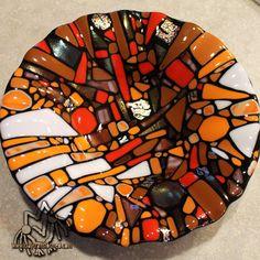 "11"" ripple bowl fused glass Marissa Vitolo"