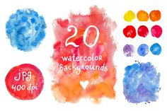 Check out Big set of watercolor backgrounds by natsa on Creative Market