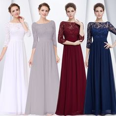 US Women's Bridesmaid  Gowns Lace Long Evening Formal Party Prom  Dress 08412 #EverPretty #BallGownMaxi #Festive