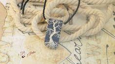 Collier Ras de Cou Arbre de Vie Argenté Wire Wrapping - Plaque Rectangle Bleu Mauve Argent - Argile Polymère : Collier par 1-fil-2-perles