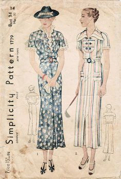 Love the pastel striped 1930s dress on this vintage 1930s sewing pattern