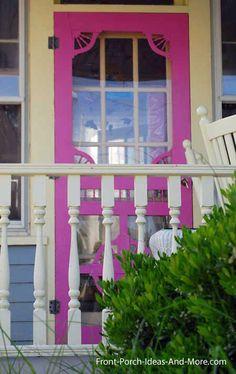 Vibrant, colorful vintage wooden screen door. Front-Porch-Ideas-and-More.com #frontdoor