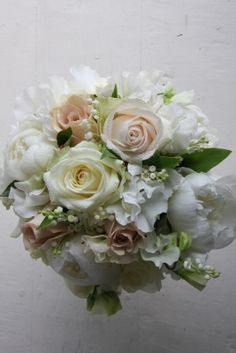 White Peonies, White Sweet Peas, White Lily Of The Valley, Ivory Roses, Champagne Roses & Green Foliage Wedding Bouquet Rose Wedding Bouquet, White Wedding Flowers, Ivory Wedding, Rose Bouquet, Wedding Day, Garden Wedding, Floral Centerpieces, Flower Arrangements, White Lily Bouquet