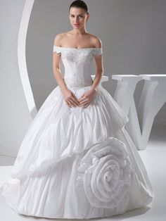 $361.69 Luxurious Ball Gown Taffeta Off-the-shoulder Sweep Train Wedding Dresses #Cheap #wedding #dresses #