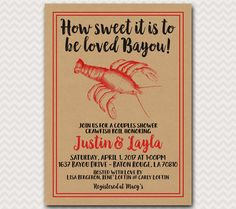 Crawfish Boil Invite, Couples Shower, Crayfish Party, Groom Shower, Crawdad Cookout, Bayou Boil, Wedding Shower, Digital File Printable 5x7 by andyneal331 on Etsy