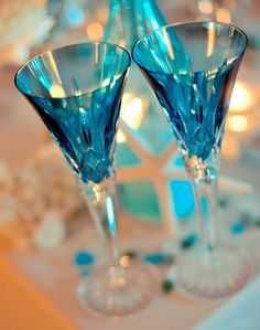 Blue champagne glasses for toasting!