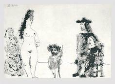 Pablo Picasso - La Célestine Présente sa Pupille; avec un Enfant au Rameau d'Olivier, 25.5.68 III 1968 Aquatint on vélin de Rives paper