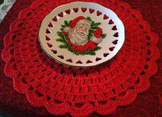 Sousplat Vermelho de Crochê Natal