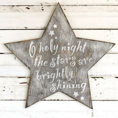 This large wooden star displays a favorite Christmas carol lyric, O Holy Night it is the perfect backdrop to your nativity scene. Screen printed from etsy.com