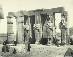 Thebes  Ramesseum, statues of Osiris 1870