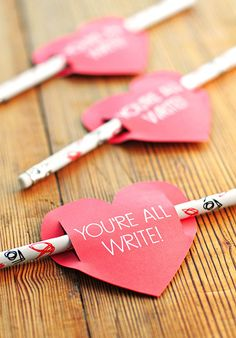 You're All Write DIY Handmade Valentines from SheWearsManyHats.com // Cute Valentine's Day Project Idea