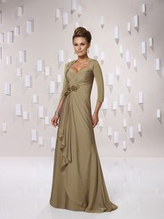 A-line+chiffon+3/4-length+sleeve+bridesmaid+gown $248.00