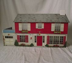 1960s Marx Metal Doll House Two Story Colonial Large Lithograph