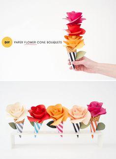 Paper Cone Bouquets