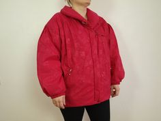 727d68997c Vintage skiing jacket Prima Vista red ski jacket Womens Size L on tag Eur  38 Made in Finland Nylon jacket Sky red ski suit Puffed jacket
