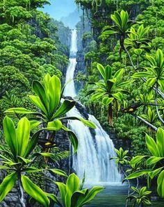 Waterfall-Hawaiian-Three-Bears-Falls-