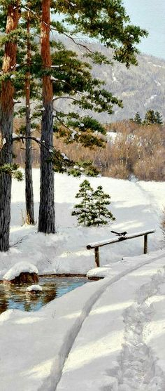 Winter path ~ Boris Bessonov (oil/canvas)