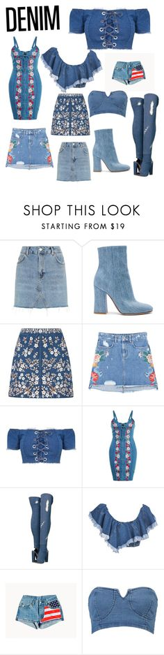 """""""Denim is a girls best friend"""" by lanasworld ❤ liked on Polyvore featuring Topshop, Gianvito Rossi, Needle & Thread, MANGO, Steve Madden and Philosophy di Lorenzo Serafini"""