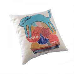 """""""MEOW"""" Adorable Lying Cat Printing Throw Pillow Cover 