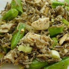Chicken and Snap Pea Wild Rice Salad | A safflower-tarragon vinaigrette and toasted almonds flavor this filling salad.