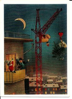 Santa Claus on crane  Vintage Russian USSR Postcard by LucyMarket, $3.50