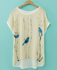 Beige Short Sleeve Bird Pattern Contrast Chiffon T-shirt - Sheinside.com