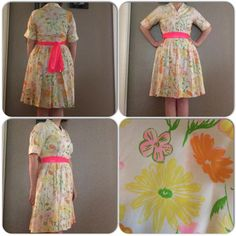 Vintage madmen style floral dress by style row. No size tag so go by measurements. Dress measures 40 inches in the bust 30 inches in the waist and 37 inches in length. Sash is not included. $65 shipped