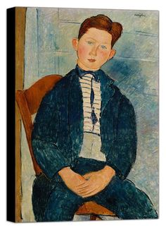 Modigliani Boy in Striped Sweater - Mira Parker, Design and Antiques - Top Vintage Dealers - Vintage One Kings Lane Skull Wall Art, Framed Wall Art, Canvas Wall Art, Oil On Canvas, Framed Prints, Amedeo Modigliani, Chaim Soutine, Italian Painters, Custom Canvas