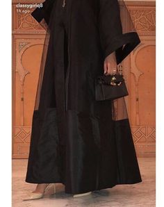 hijab abaya Elevate it with sheer fabric ; Modest Fashion Hijab, Street Hijab Fashion, Abaya Fashion, Muslim Fashion, Fashion Dresses, Iranian Women Fashion, African Fashion, Mode Abaya, Abaya Designs