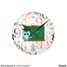 Sold #School #pattern #wallclock #teachergiftideas Available in different products. Check more at www.zazzle.com/celebrationideas