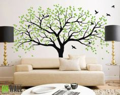 Wall decal Large Tree Wall decal living room by ONWALLstudio