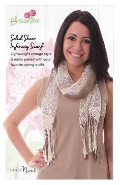 Solid Sheer Vintage Style Infinity Scarf, Blossom Lane by Simply Noelle. http://www.NoelleEnterprises.com #SimplyNoelle