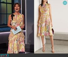 Big Brother Style, Julie Chen, Stylish Work Outfits, Ruffle Dress, Grosgrain, Floral Prints, Fashion Outfits, Summer Dresses, Silk