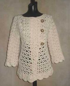 Vintage Top-Down Crochet Cardigan Pattern from SweaterBabe.com
