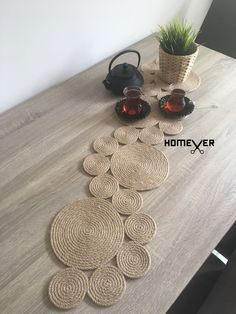 Christmas Table Runner, Rope Table Runner / Tablecloth MERIDA Best Housewarming Gift, Christmas Gift, Rustic Decor, Kitchen Table Decor - Diy home crafts - - Jute Crafts, Diy Home Crafts, Diy Home Decor, Decor Crafts, Nature Crafts, Diy Crafts Vintage, Vintage Gifts, Handmade Crafts, Rope Decor
