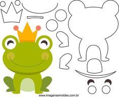 moldes de ranas para hacer en foami o fieltro disertación Felt Animal Patterns, Stuffed Animal Patterns, Quiet Book Templates, Animal Templates, Frog Crafts, Pot A Crayon, Fox Pattern, Creation Couture, Sewing Toys