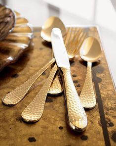 Hammered Gold - I must have these - wouldn't they make every meal more glamorous? Love, love, love!!!!