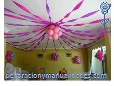 Party Decorating Ideas With Streamers pink and white streamer decoration | baby shower | pinterest