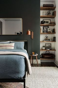 This is a Bedroom Interior Design Ideas. House is a private bedroom and is usually hidden from our guests. However, it is important to her, not only for comfort but also style. Much of our bedroom … Man Room, Suites, Home Decor Bedroom, Design Bedroom, Dark Furniture Bedroom, Bedroom Interiors, Dark Wood Bedroom, Bedroom Modern, Stylish Bedroom